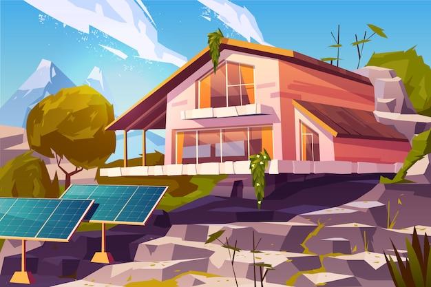 Casa de campo em desenho animado de montanhas Vetor grátis