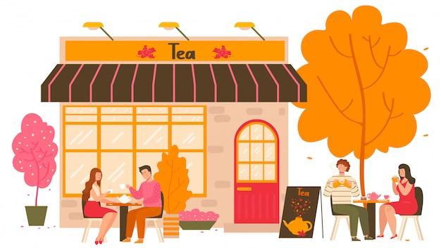 Casa de chá na cidade de outono com mesas ao ar livre e pessoas bebendo chá quente com bule e xícaras de chá cartoon ilustração. Vetor Premium