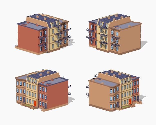 Casa de cidade baixa poli brownstone Vetor Premium