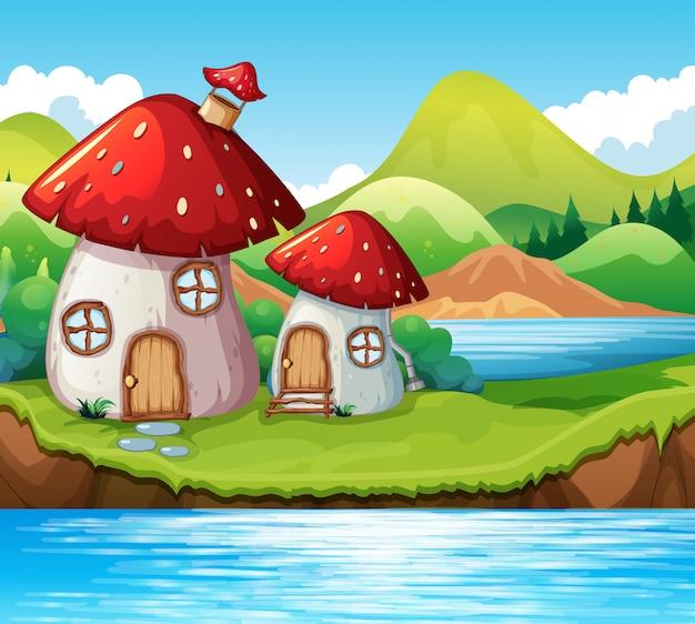 Casa de cogumelo por um lago Vetor grátis