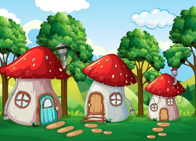 Casa de cogumelos encantada na natureza Vetor Premium