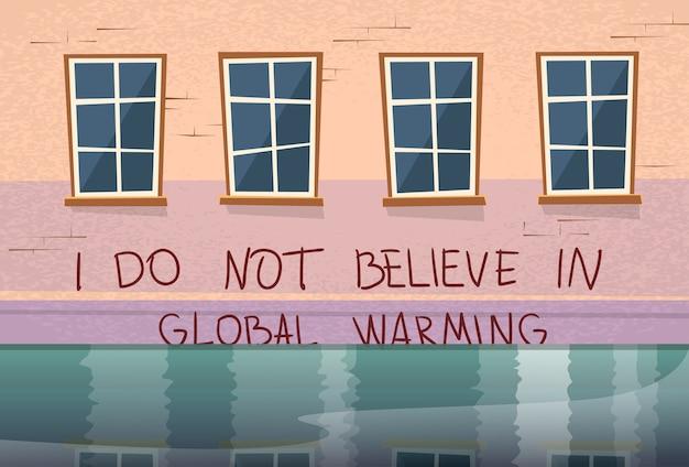 Casa de conceito aquecimento global sob inundação de janela de água Vetor Premium