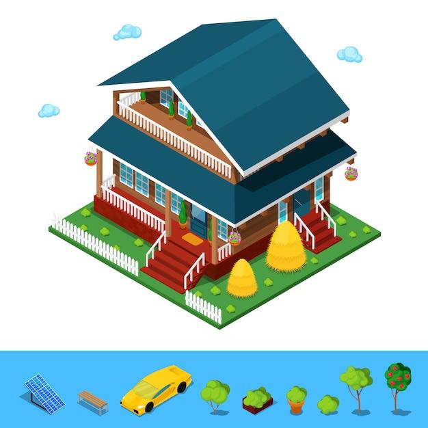 Casa de construção isométrica cottege rural. Vetor Premium