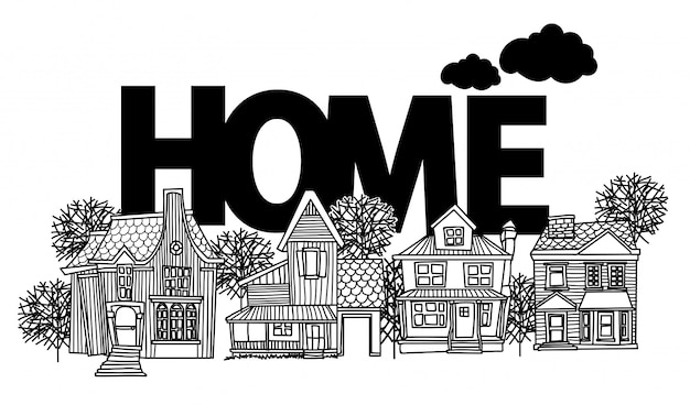 Casa de desenho e desenho preto e branco com ilustração de arte de linha isolada Vetor Premium