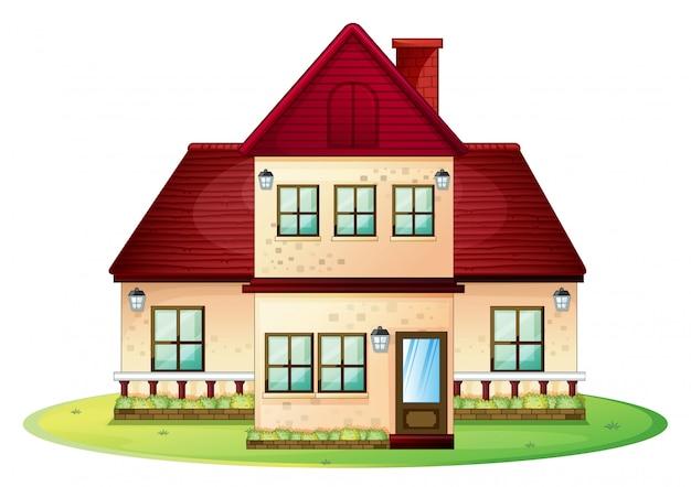 Casa de dois andares com telhado vermelho Vetor grátis