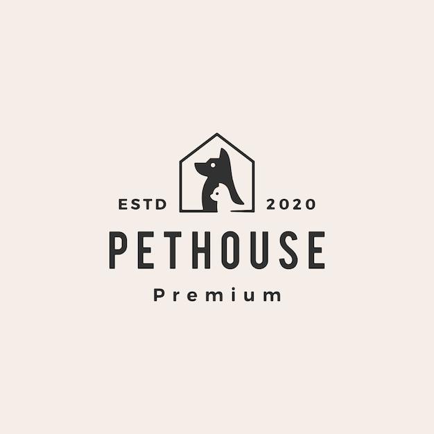 Casa de estimação cachorro gato hipster logotipo vintage icon ilustração Vetor Premium