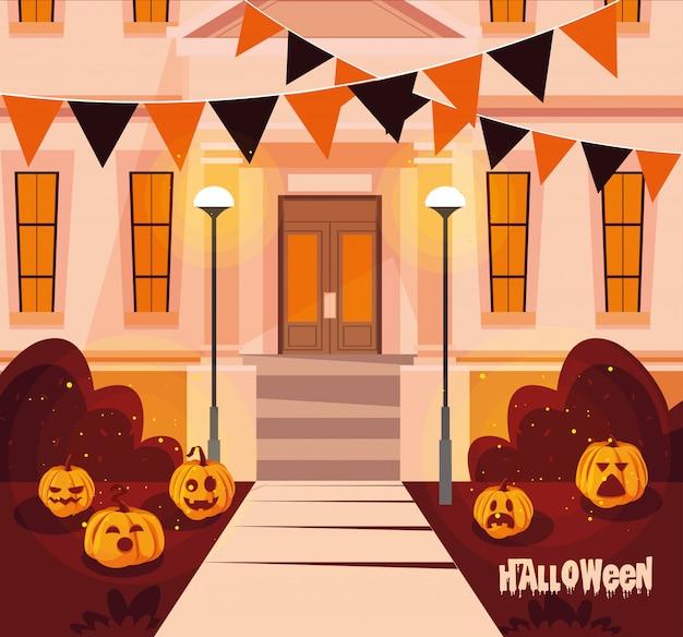 Casa de fachada de halloween com decoração Vetor Premium