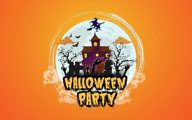 Casa de halloween com floresta assustadora à noite Vetor Premium