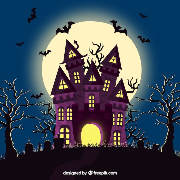 Casa de halloween com morcegos e cemitério Vetor grátis