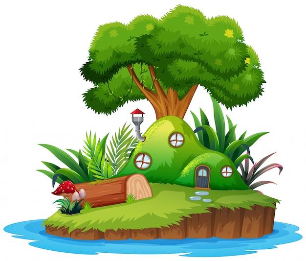 Casa de ilha de fantasia isolada Vetor Premium