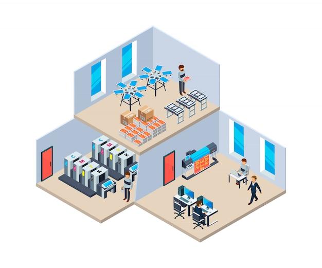 Casa de impressão. indústria de produção poligrafia impressão tecnologia empresa interior da casa de impressão Vetor Premium