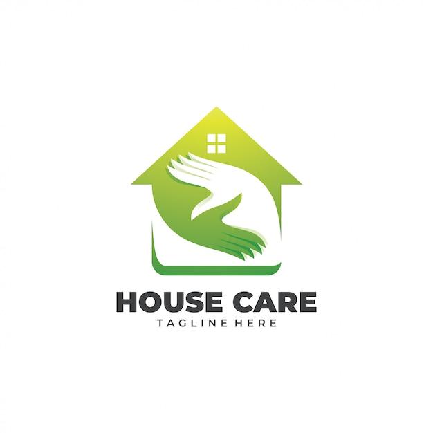 Casa de lar e logotipo de mão de cuidados Vetor Premium