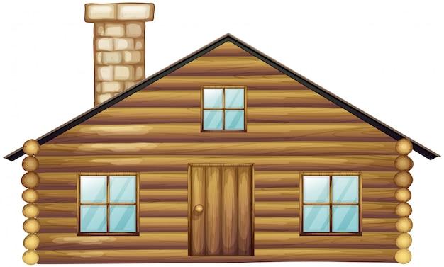 Casa de madeira com chaminé Vetor grátis