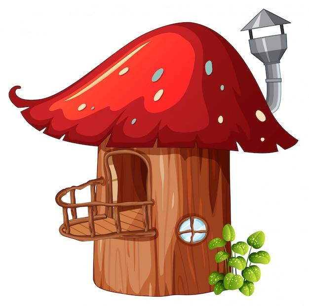Casa de madeira de cogumelo encantado Vetor Premium