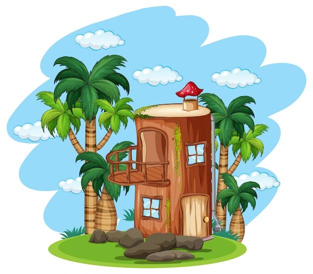 Casa de madeira encantada na natureza Vetor grátis