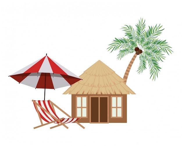 Casa de madeira na praia Vetor grátis