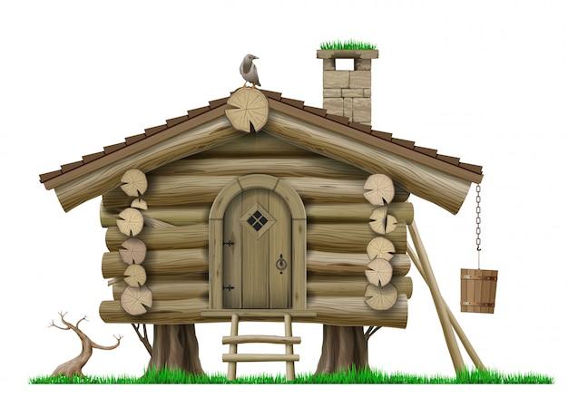 Casa de palafitas de madeira vintage floresta de conto de fadas Vetor Premium