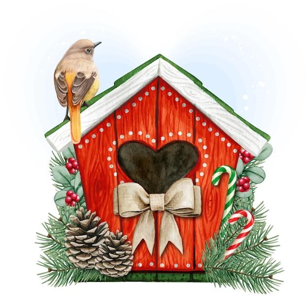 Casa de pássaros em aquarela de alta qualidade com redstart daurian Vetor Premium
