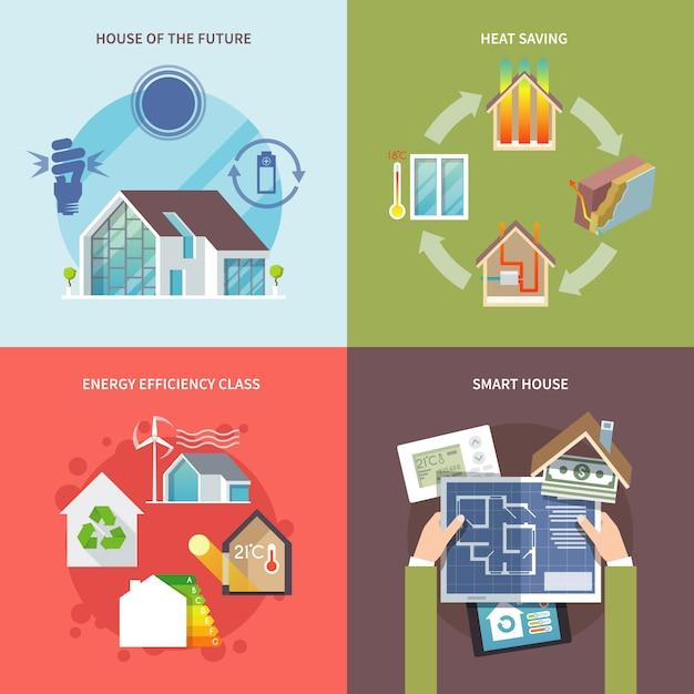 Casa de poupança de energia plana Vetor grátis
