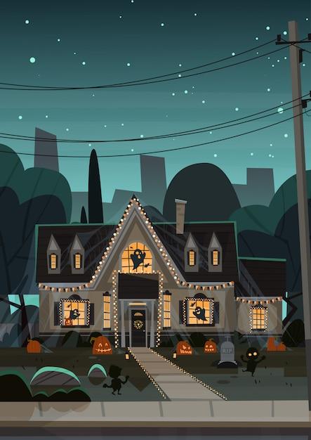 Casa decorada para o halloween, vista frontal com abóboras diferentes Vetor Premium