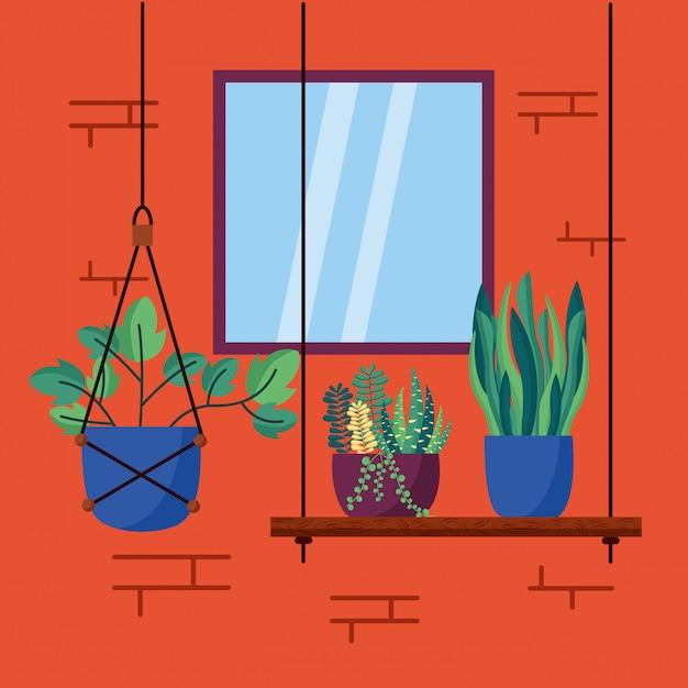 Casa decorativa plantas design de interiores Vetor grátis