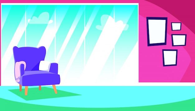 Casa dentro de cena com interiores de sofá e decoração Vetor Premium
