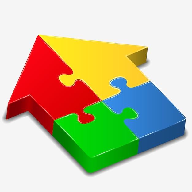 Casa do quebra-cabeça Vetor Premium
