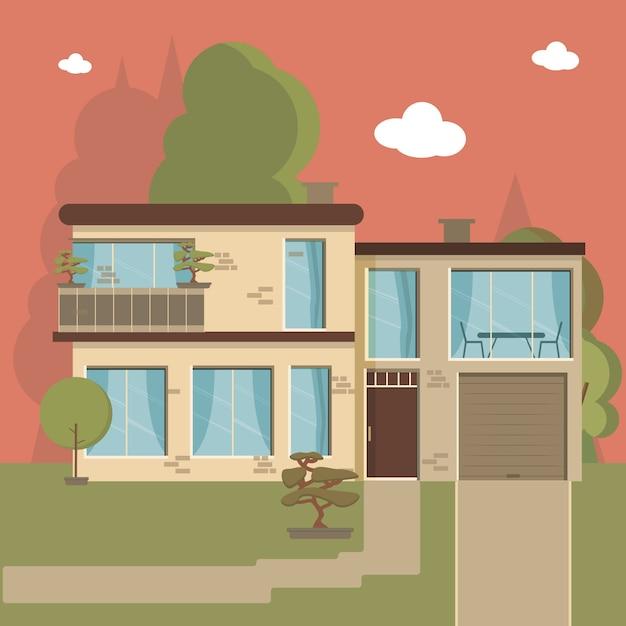 Casa e apartamento no fundo da natureza Vetor Premium