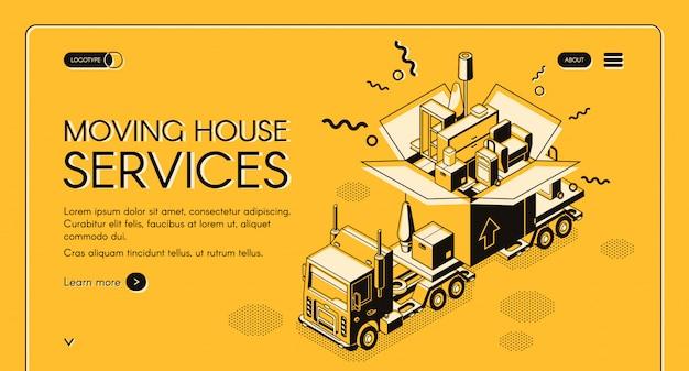 Casa, em movimento, e, relocation, serviço, isometric, bandeira web Vetor grátis