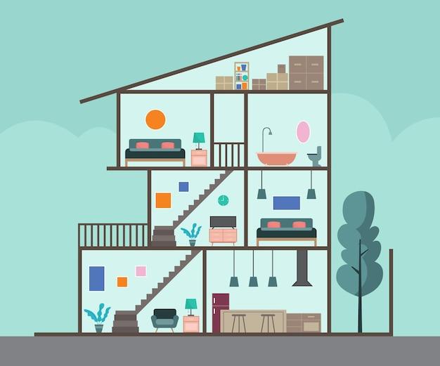 Casa em seção transversal Vetor grátis