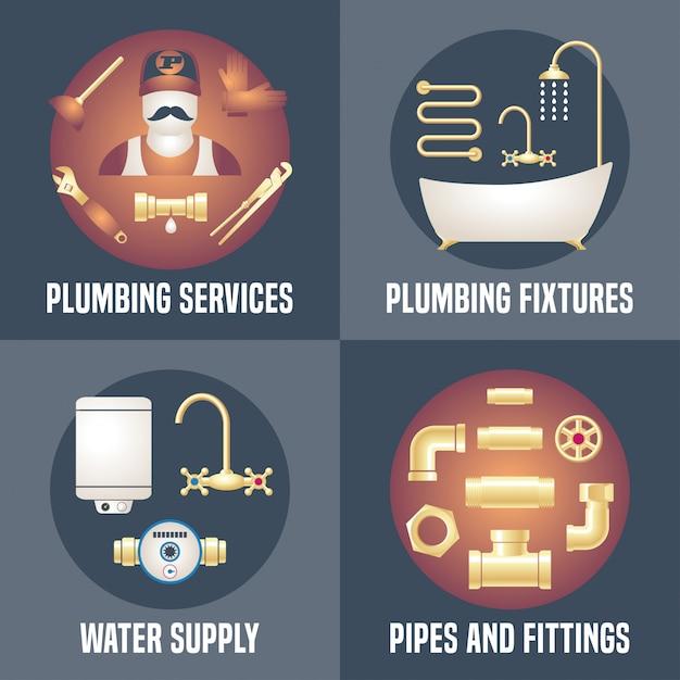 Casa encanamento - coleção de quatro banners, cartazes com símbolos de encanamento. serviços de marceneiro anunciando ilustrações Vetor Premium