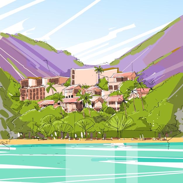 Casa grande moderna da casa dos bens imobiliários na floresta tropical skecth Vetor Premium