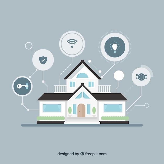 Casa inteligente com funções em estilo plano Vetor grátis