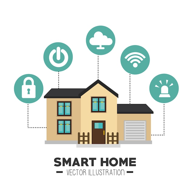Casa inteligente e seu ícone isolado de aplicações Vetor grátis