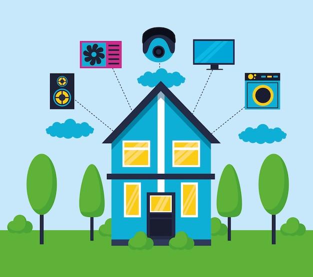 Casa inteligente em estilo simples Vetor grátis
