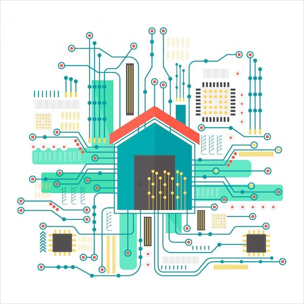 Casa inteligente em fundo futurista de microchip Vetor Premium