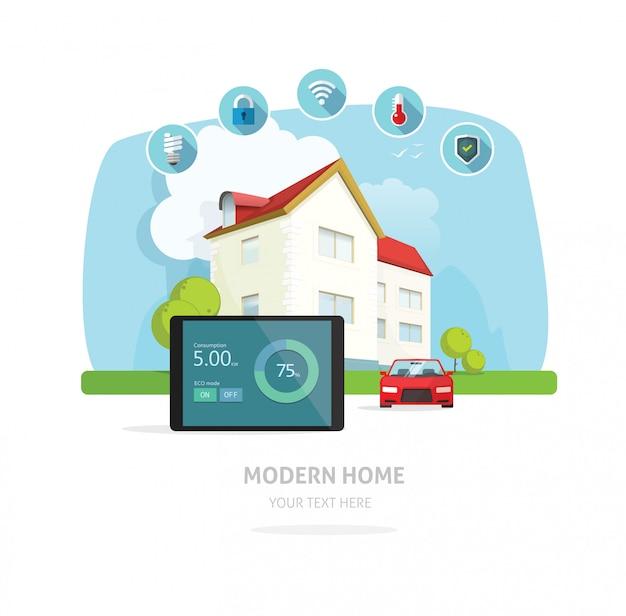 Casa inteligente moderna futura casa vector illustration Vetor Premium