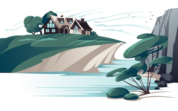 Casa isolada na cor lisa da margem do rio. Vetor Premium
