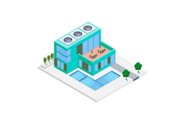 Casa isométrica luxuosa moderna com piscina Vetor Premium