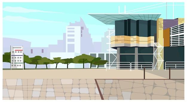 Casa moderna casa de campo com ilustração longa do telhado Vetor grátis