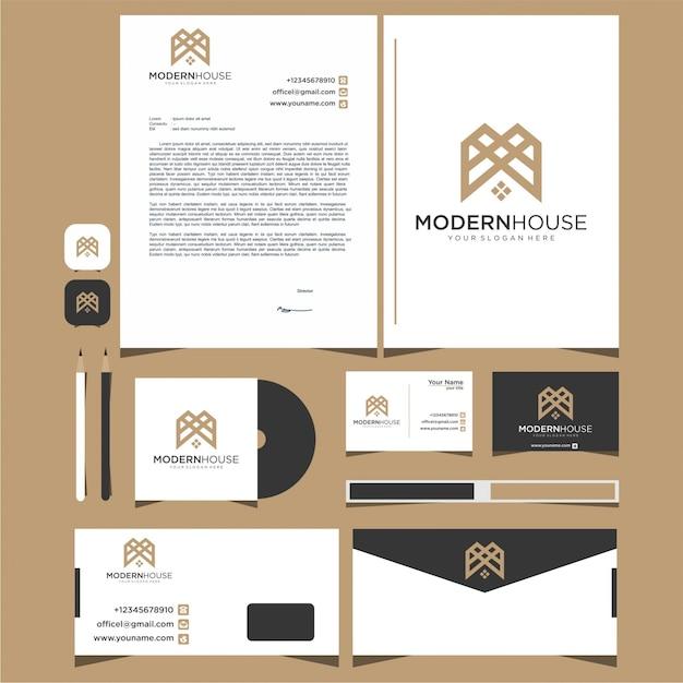 Casa moderna de logotipo para construção, casa, imóveis, construção, propriedade. modelo de design de logotipo e papelaria Vetor Premium