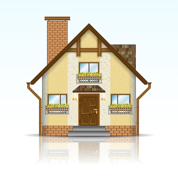 Casa moderna realista Vetor Premium
