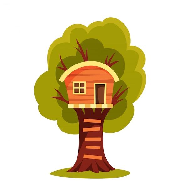Casa na árvore. parque infantil com balanço e escada. ilustração do estilo simples. casa na árvore para brincar e festas. casa na árvore para as crianças. Vetor Premium
