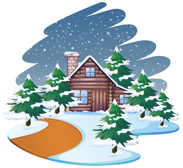 Casa na cena de neve ou plano de fundo Vetor grátis