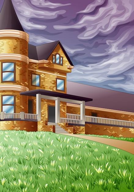 Casa no jardim verde e no céu escuro. Vetor Premium