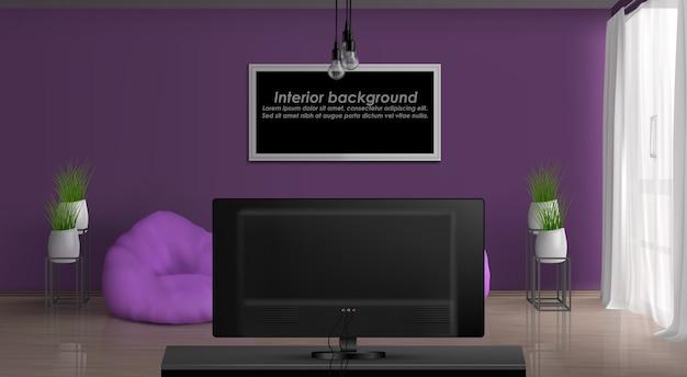 Casa ou apartamento aconchegante sala de estar 3d realista de vetor interior. quadro de pintura ou foto com texto de exemplo na parede roxa, janela cortinas, cadeiras de saco de feijão na frente da ilustração do televisor Vetor grátis