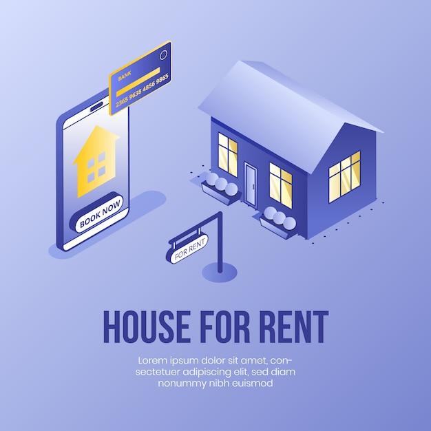 Casa para alugar. conceito de design isométrico digital para imóveis Vetor Premium