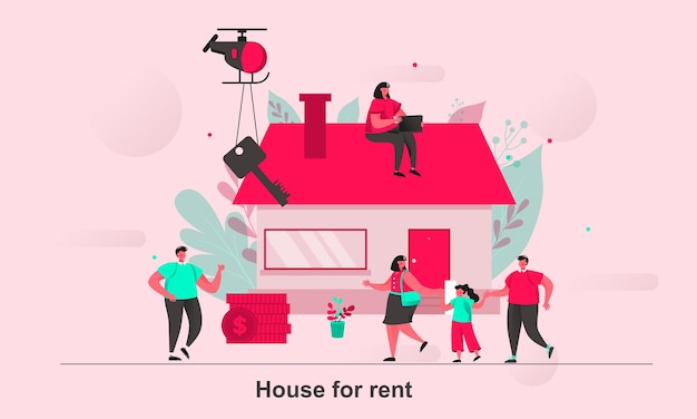 Casa para alugar web concept design em estilo simples com personagens minúsculos Vetor Premium
