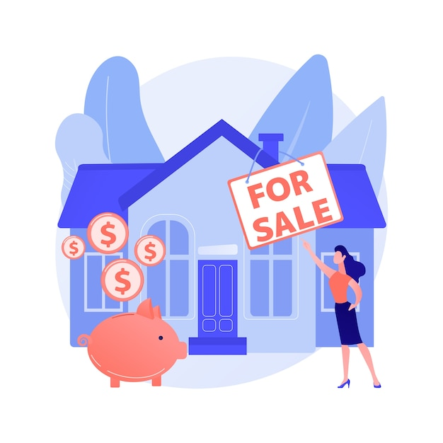 Casa para ilustração em vetor conceito abstrato de venda. vendendo o melhor negócio de casa, serviços de agente imobiliário, propriedade residencial e comercial, corretor de hipotecas, metáfora abstrata de lance de leilão. Vetor grátis