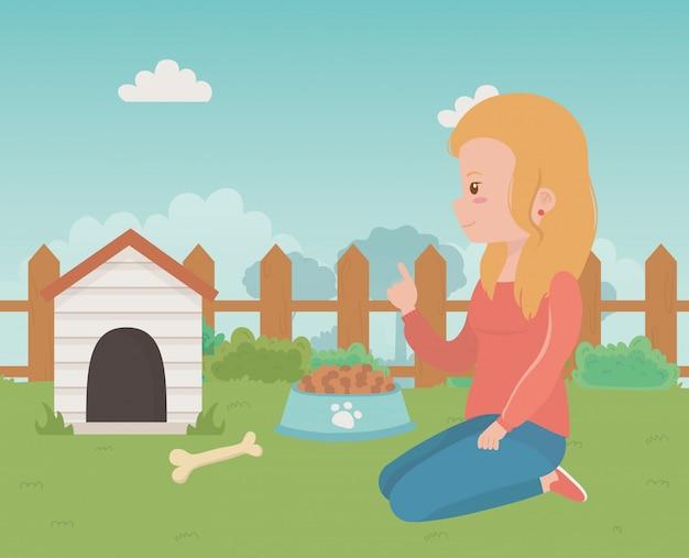 Casa para mascote e desenho de menina dos desenhos animados Vetor grátis